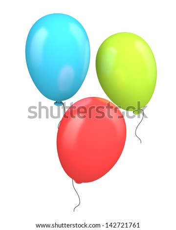 Three colored balloons isolated on white background