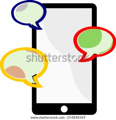 Three colored balloons represent cellphone users communicating through messages on a cellphone device.
