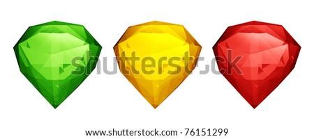 Three colored diamonds - stock photo