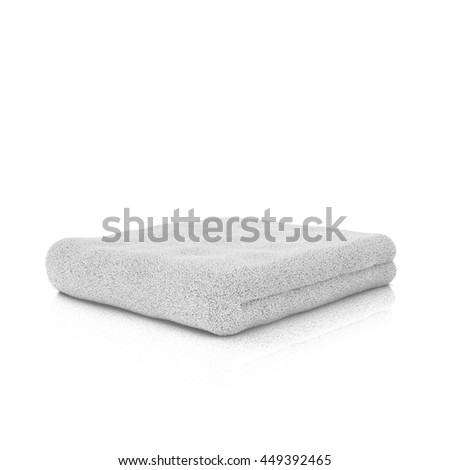 Three colored folded towels. Close up. 3d Rendering. - stock photo