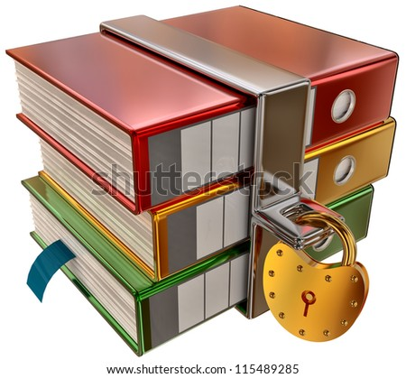 three colored folders with golden hinged lock, stores important information - stock photo