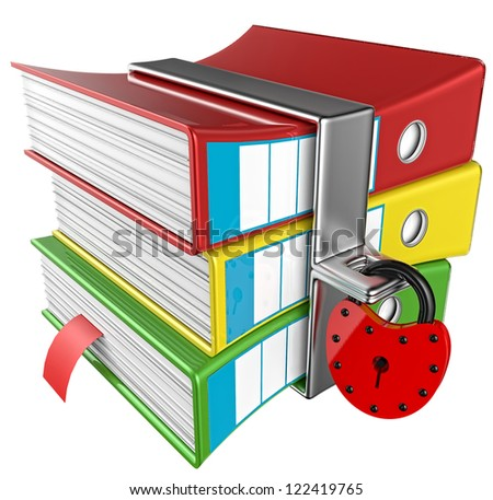 three colored folders with red hinged lock, stores important information - stock photo