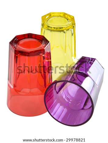 Three colored glass isolated. Clipping path