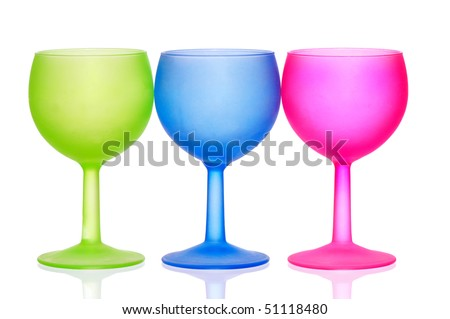 Three colored glasses for cocktails  on the party