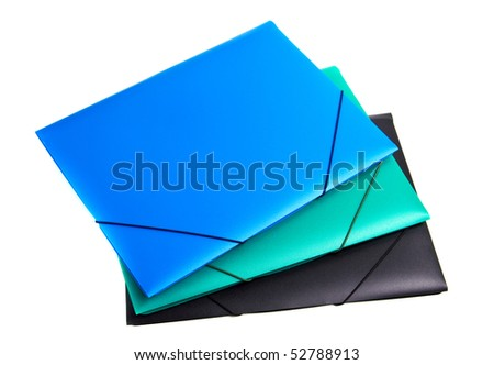 three colored plastic files white isolated