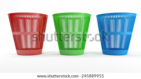 Three colored plastic waste bins with a white background - stock photo
