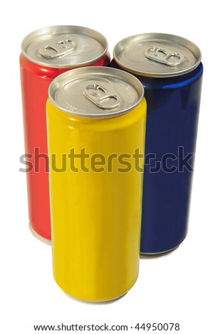 Three colored slim can isolated - stock photo