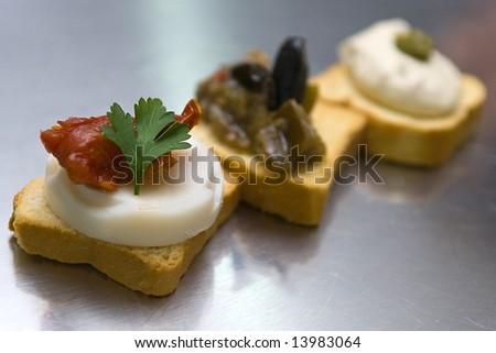 Three colored snacks - stock photo