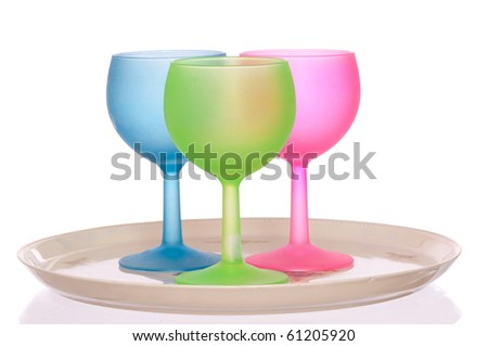 three colored wine glasses for cocktails for party