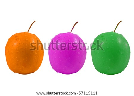 Three colorful apples - stock photo
