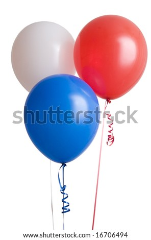 Three colorful balloons isolated on white background - stock photo