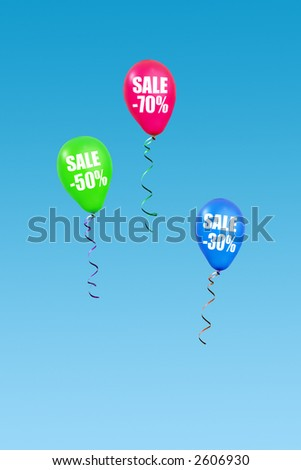 Three colorful balloons rising in the air announcing seventy, fifty and thirty percent sale over clear blue sky - stock photo