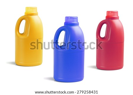 Three Colorful Bottles of Detergent on White Background - stock photo
