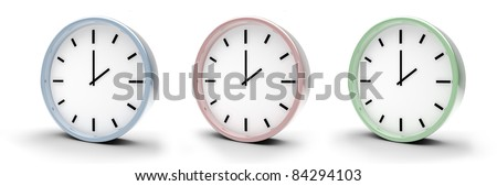 three colorful clocks isolated on white background 3D