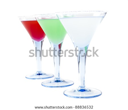 Three Colorful Coctails Isolated on White Background - stock photo