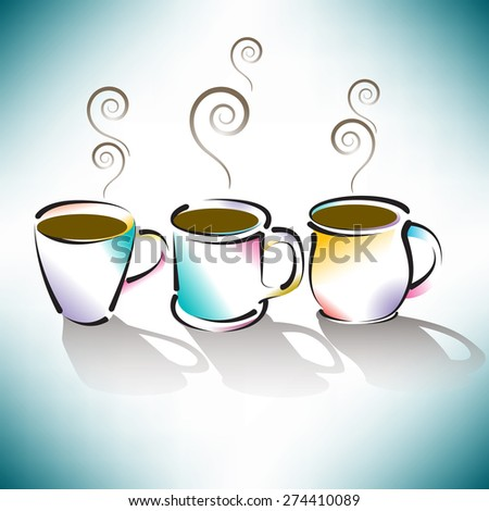 Three Colorful Coffee Cups  - stock photo