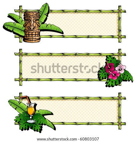 Three colorful, detailed hawaiian banners (jpg); Eps10 version also available - stock photo