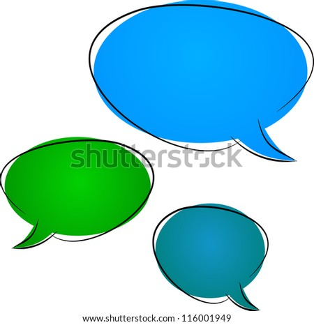 Three colorful dialog clouds cartoon illustration isolated on white background - stock photo