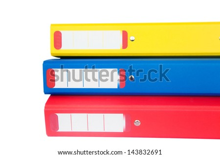 Three colorful folders isolated over white background