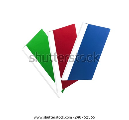 three colorful folders over white background - stock photo
