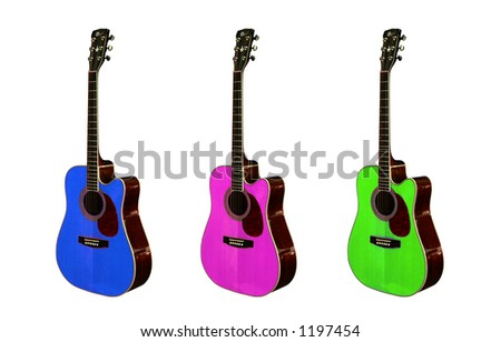 Three colorful guitars. Focus on the strings. - stock photo