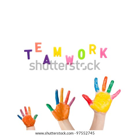 """Three colorful hands different sizes drawn to the word """"teamwork"""". Symbol of friendship, unity, teamwork and harmony as logo. Isolated on white background with clipping path - stock photo"""