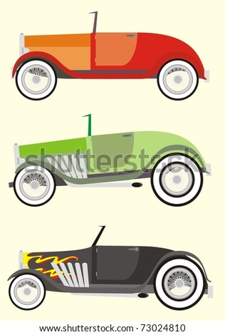 Three colorful high performance hot rods / tuned up vintage cabriolets - color raster cartoon illustration set
