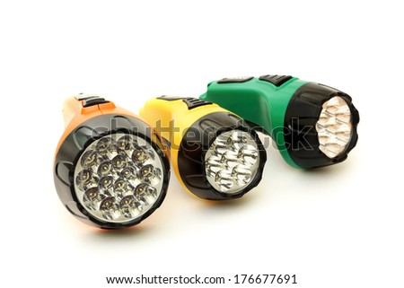 Three colorful LED flashlights - stock photo