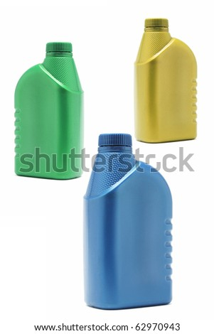 Three colorful plastic containers on white background
