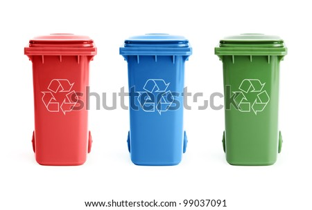Three colorful recycle bins isolated on white background - stock photo