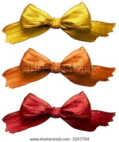 Three colorful ribbon isolated on white background - stock photo