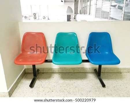 Three colorful seats