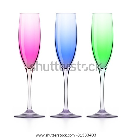 Three colorful wineglasses (rose, green and blue) isolated on white background