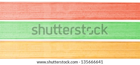 Three colorful wooden strip background