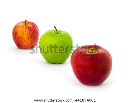 Three Colors Apples Varieties (New Zealand Eve, Granny Smith, Ambrosia) Isolate on White Background with Clipping Path - stock photo