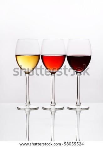 three colors of wine - stock photo