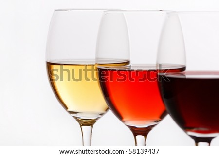 three colors of wine - stock photo