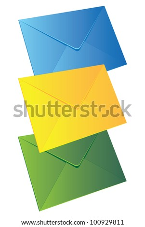 Three coloured empty envelopes in the vertical row