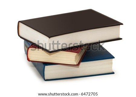Three colourful books isolated on the white - more similar photos in my portfolio - stock photo