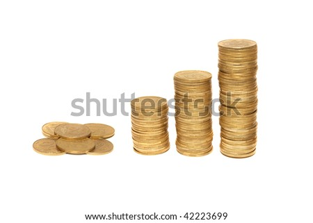 Three columns of gold isolated on white