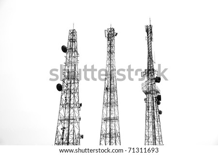 three Communication tower silhouette - stock photo
