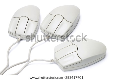 Three Computer Mouse Isolated on White Background - stock photo