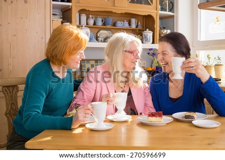Three Cool Middle Age Female Friends Having Snacks at the Cafe While Talking Something Interesting. - stock photo
