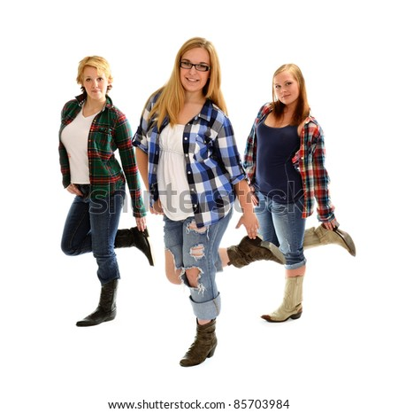 Three Country and Western Line Dancing Girls - stock photo