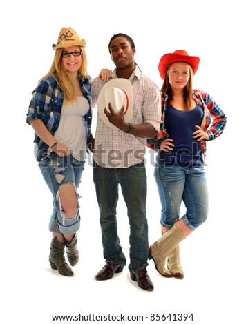 Three country and western teenagers