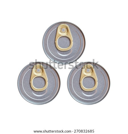Three cover of canned top view isolated on white background - stock photo