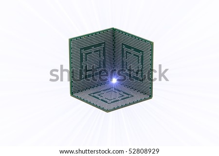 Three CPUs making a half cube on a white background, with beaming light - stock photo