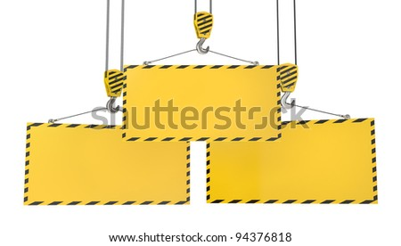 Three crane hooks with blank yellow plates, isolated on white background - stock photo