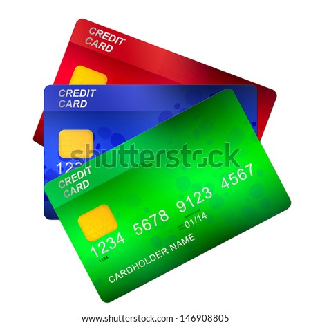 three credit cards   isolated on white background