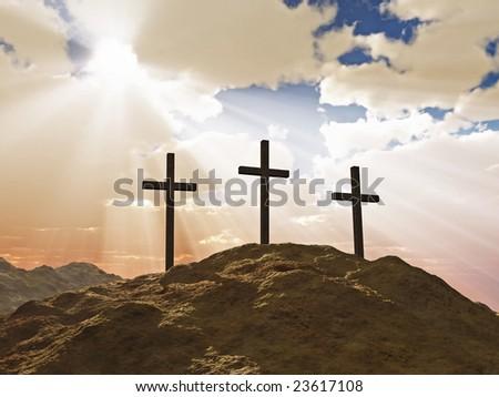 three cross on Calvary hill - stock photo